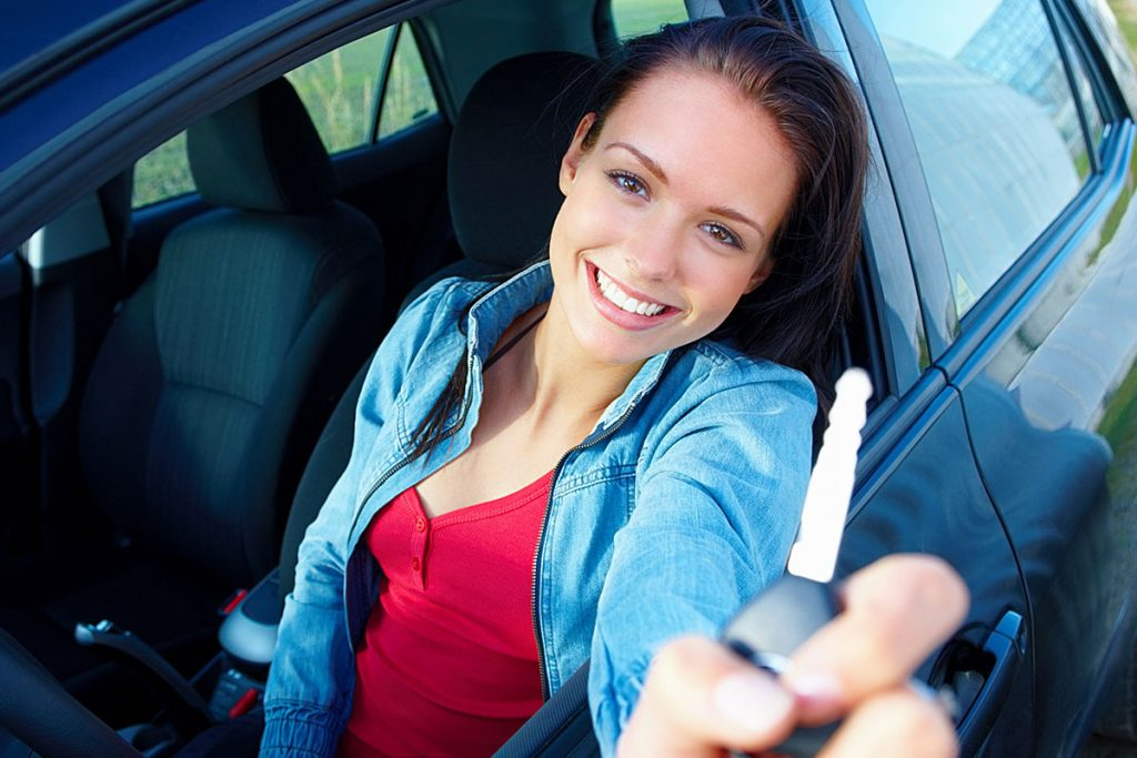 Girl with car key