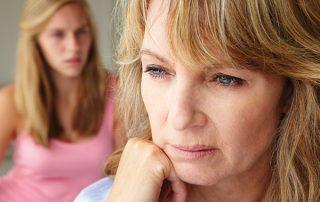 Sad mum with daughter