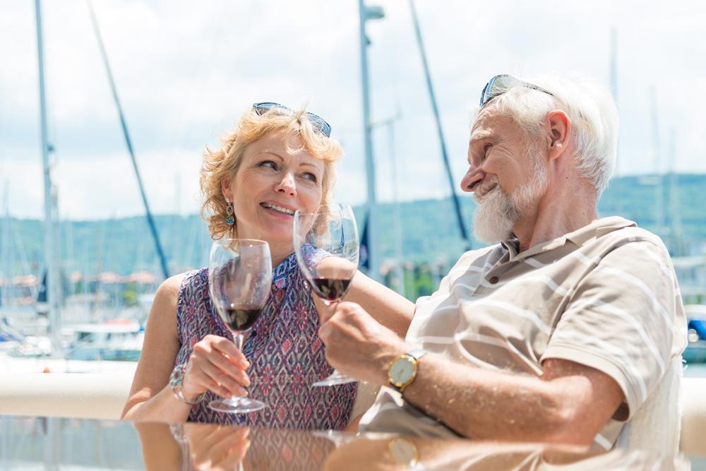 Senior couple enjoying on a yacht